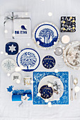 Festive table decorated in blue and white