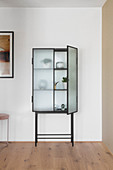 Objets d'art in glass-fronted cabinet with open door