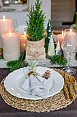 Table set for Christmas with small potted conifers and pillar candles