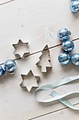 Blue baubles and pastry cutters