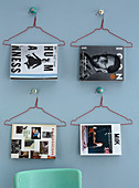 Wire coat hangers used as decorative magazine holders