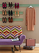Stucco picture rail used as decorative shoe rack