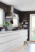 White, modern kitchen counter against black wall