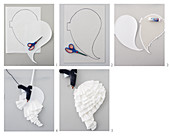 Instructions for making angel wings from white coffee filters