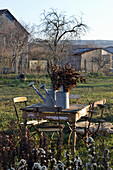 Table and chair in rustic garden in late autumn: dried sedum in zinc watering cans on table