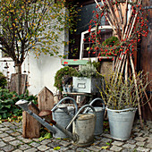 Autumn arrangement with a wreath of rose hips, zinc watering cans, and zinc buckets with branches