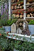 Autumnal arrangement of rose hips and heather on stacked firewood