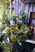 Mixed wreath with pine, mistletoe, spruce and clematis