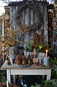 Christmas decoration with larch branches, wreath of birch, cones, Christmas roses and wooden trees on table in the garden
