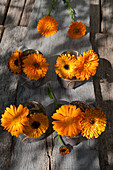 Posies of pot marigolds in beakers wrapped in felt and twine
