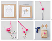 Instructions for making gift bag decorated with pompoms and antlers
