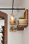 Kräutertöpfe in selbstgefertigten Wandregalen aus Altholz und Holzkisten
