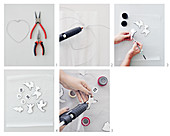 instructions for making wire heart decorated with festive air-dried clay figurines