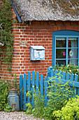 Blauer Zaun mit Tor am Backsteinhaus mit Reetdach