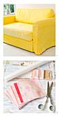 Anleitung fürs Aufmöbeln eines gelben Sofas mit Patchwork