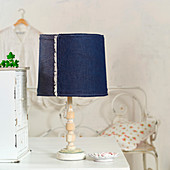 Old table lamp with new, denim lampshade