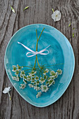 Queen Anne's lace on turquoise plate