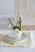 Weiße Traubenhyazinthen und Schneeglöckchen in einer Eierschale