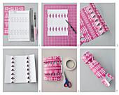 Anleitung für ein Knallbonbon aus pinkem Papier mit Stickmotiv