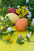 Easter eggs, cowslips and wood anemones