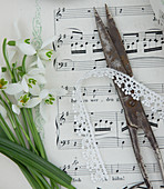 Snowdrops, lace ribbon and scissors on sheet music