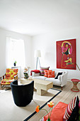 Living room in modern, Oriental style with red accents