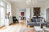 Classic living room with double doors in period building