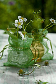 Flowers of wild strawberry in tiny crystal vases in transparent bags