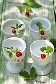 Tendrils of mock strawberry in eggcups decorating table