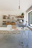 Long desk and shelving in modern study