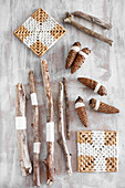 Sticks, fir cones and coasters for natural, Bohemian-style decoration ideas