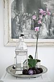 Deko-Stillleben mit Orchidee und Laterne auf rundem Silbertablett