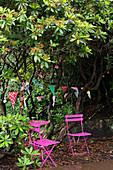 Hot-pink garden furniture below bunting hung in tree in garden