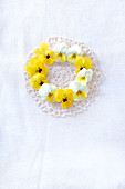 Wreath of violas laid on lace doily