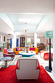 Colourful living room in modern, Oriental style