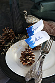 Pine cone used as holders for name cards embellished with blue brush strokes