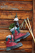 Hiking boots and bottle of leg spray hung on cabin wall