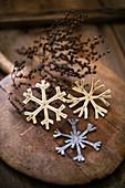 Festive arrangement of handmade felt snowflakes