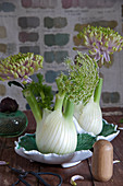 Chrysanthemums and bishop's flower in fennel bulbs used as vases