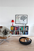 Dog in basket and leather easy chair with fur blanket in front of bookcase