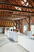 Exhibition space in renovated, red-brick barn