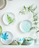 Decorative plates and bowls with plant motifs