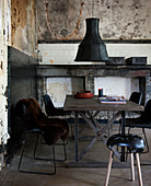 Industrial-style dining area