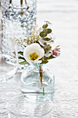 Small bouquet made from prairie gentian, eucalyptus, and gypsophila