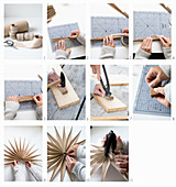 Instructions for making Christmas stars from wood veneer