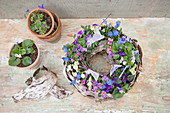 Wreath-shaped spring arrangement decorated with tiny flags