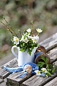 Small bouquet of wood anemones in a cream jug