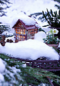 Snow on illuminated house ornament in garden