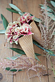 Carnations in waffle cones