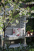 Arbour bench in spring
